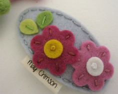 Felt hair clip No slip Wool felt Ecru petal flower by MayCrimson
