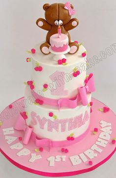 Celebrate with Cake!: Teddy with Cake on a 2 tier