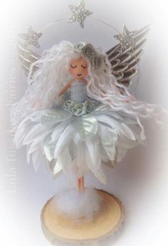 Handmade fairy Fairy doll Magical fairy Fairies Christmas angel Christmas fairy handmade by me Lula at Lula Tuesdays Fairies - Her Crochet Christmas Fairy, Christmas Angels, Christmas Crafts, Handmade Christmas, Fairy Crafts, Doll Crafts, Clothespin Dolls, Tiny Dolls, Flower Fairies