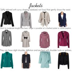 A collection of True Summer jackets in David Kibbe's Soft Classic style.