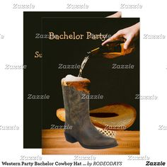 Shop Western Party Bachelor Cowboy Hat Beer Invitation created by RODEODAYS. Western Party Decorations, Western Parties, Bachelor Party Invitations, Unique Invitations, Horse Party, Cowgirl Party, Western Weddings, Westerns, Beer