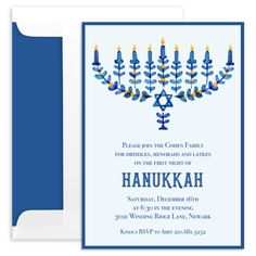 Personalized Modern Floral Menorah Invitations