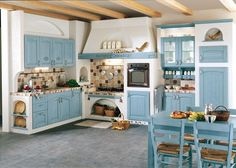 French country home decorating ideas for kitchen decor <not so hot on this earth tone baby blue>   #LGLimitlessDesign #Contest