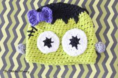 Crochet Frankenstein Monster Hat For Girl or by TheStitchinMommy, $22.00