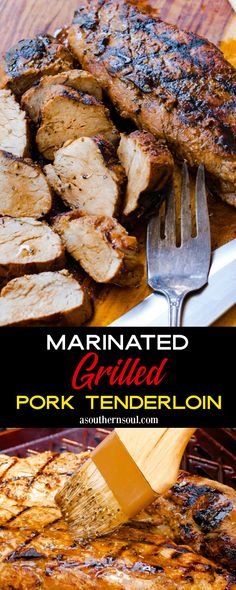 Grilling Recipes, Pork Recipes, Cooking Recipes, Pork Marinade Recipes, Game Recipes, Recipies, Vegan Recipes, Grilled Tenderloin, Grilled Pork Tenderloins