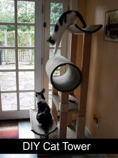 DIY Cat Tower | Let's face it - store-bought cat towers are crazy expensive. Make your own and not only save some bucks, but match the recipients decor!