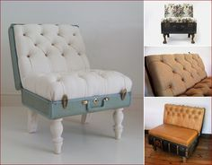 Suitcase chair included in these 20 DIY Vintage Suitcase Projects and Repurposed Suitcases. Create unique home decor using repurposed old suitcases! Recycled Furniture, Diy Furniture, Modern Furniture, Vintage Furniture, Furniture Design, Furniture Projects, Refurbished Furniture, Furniture Plans, Office Furniture