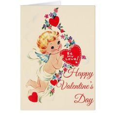 Vintage Cherub Happy Valentines Day Card - love cards couple card ideas diy cyo
