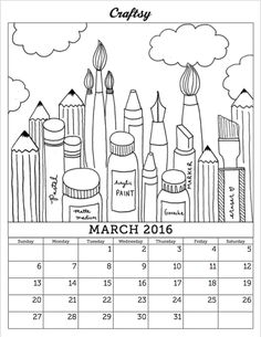 march 2016 free coloring page calendar