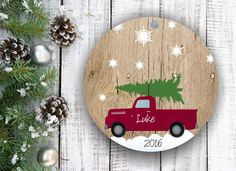 Personalized Christmas Ornament Personalized Gift Personalized Ornament for Boy Mens Gift Christmas Tree Ornaments Vintage Red Truck