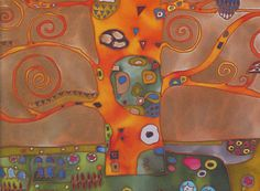 Painted on natural silk (400 x 500 mm) inspired by my favourite painter Gustav Klimt. Picture framed in creame passe-partout, with added signature and orgin certificate. Whole compleated by wooden frame in gold, chestnut or other colour. Frame is send without glass cause of risk of damaging while in transport. Colour of the freme depends of buyers choice.