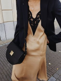 Arket Wool Hopsack Blazer , Arket Washed Satin Slip dress , Demellier London The Oslo bag , Nike Tekno sneakers Look Fashion, Winter Fashion, Fashion Outfits, Womens Fashion, Fashion Trends, Black Slip On Sneakers Outfit, What Should I Wear, Fall Capsule Wardrobe, Lace Slip