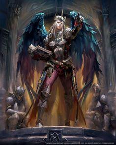 Solomon illustration from Mobius Final Fantasy Fantasy Warrior, Fantasy Male, Dark Fantasy Art, Fantasy Artwork, Arte Final Fantasy, Angel Warrior, Fantasy Kunst, Fantasy Inspiration, Character Inspiration