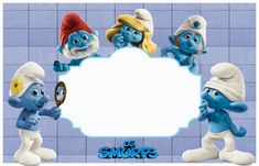 The Smurfs Free: Printable Invitations or Photo Frames. Free Printable Invitations, Party Printables, Free Printables, Barbie Theme, Photo Frame Design, Oh My Fiesta, Smurfette, Writing Paper, Blogger Templates