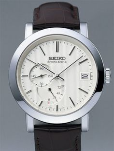 Seiko Spring Drive with date, small seconds sub-dial & power reserve.