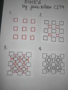 See Jane run.: Tangle Blocked: Blockd by Jane Eileen, Certified Zentangle… Art Doodle, Tangle Doodle, Tangle Art, Zentangle Drawings, Doodles Zentangles, Doodle Drawings, Easy Zentangle, 3d Drawings, Doodle Patterns