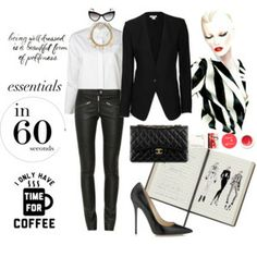 The Styling Agency - 60-Second Style #leathertrousers #blackcourtshoes #whiteshirt #getthelook #stylist