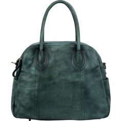 Old Trend Vintage Hobo - Vintage Green - Hobos ($183) ❤ liked on Polyvore featuring bags, handbags, shoulder bags, green, leather handbags, leather hand bags, vintage leather handbags, leather man bags, vintage leather purse and leather purses