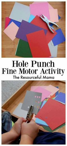 Hole Punch Fine Motor Activity - Preschool Fine Motor Activities - Hole Punch Fine Motor Activity for young kids preschoolers and kindergartners - Preschool Fine Motor Skills, Fine Motor Activities For Kids, Motor Skills Activities, Montessori Activities, Gross Motor Skills, Toddler Activities, Learning Activities, Dementia Activities, Therapy Activities