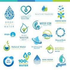 Conjunto de iconos de agua Vector De Stock Aquafresh, Water Icon, Natural Mineral Water, Water Abstract, Water Logo, Professional Logo Design, Used Tools, Save Water, Pure Products