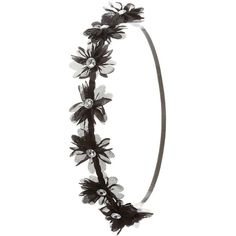Charlotte Russe Black Jeweled Chiffon Flower Head Wrap by Charlotte... ($3.49) ❤ liked on Polyvore featuring accessories, hair accessories, black, woven headbands, head wrap headband, black flower hair accessories, daisy headband and black headband