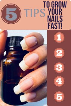 5 Tips To Grow Your Nails Fast! How to grow your nails long, strong + healthy. How to help brittle + weak nails. How to get your nails to stop breaking. Grow Long Nails, Grow Nails Faster, How To Grow Nails, Nail Growth Tips, Fast Nail Growth, Natrual Nails, Really Long Nails, Nail Care Routine, Long Natural Nails
