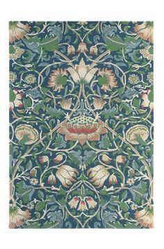 Morris & Co Lodden Indigo Mineral 27808 Designer Wool Viscose Rug William Morris, Indigo, Tapis Design, Burke Decor, Modern Area Rugs, Arts And Crafts Movement, Wool Carpet, Contemporary Rugs, Persian Rug