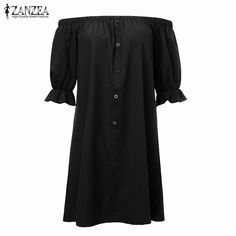 Available in Large Sizes ZANZEA Women Sexy Off Shoulder Mini Party Dress Casual Loose Half Sleeve Strapless Dresses Plus Size Long Tops