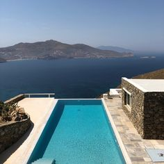 Looking out to sea🌊 Luxury Villas In Greece, Out To Sea, Mykonos Greece, Greek Islands, Luxury Living, Real Estate, Outdoor Decor, Summer, Home