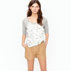 J Crew Scalloped Short and Summerlight Terry Daisy Sweatshirt.  Warm weather basics, only better.