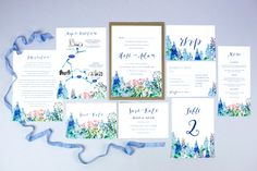 Calligraphy flowers wedding invitations by Hollyhock Lane