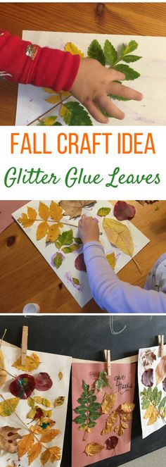 Fall Craft Idea: Glitter Glue Leaves With Two in Tow & On the Go - Live Well Play Together Fall Craft Ideas for Kids - Glitter Glue Leaf Tracing Fall Crafts For Toddlers, Easy Fall Crafts, Autumn Activities For Kids, Fall Preschool, Craft Activities, Preschool Crafts, Toddler Activities, Toddler Preschool, Kids Crafts