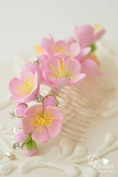 Items similar to Made to Order - Clay Cherry Blossom Hair Comb with Rhinestones on Etsy