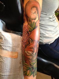 My brand new fox tattoo. Done by Jessi Lawson at Leviticus Tattoo in Minneapolis.