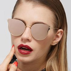 Cat Eye Flat Vintage Metal Frame Mirror Sunglasses
