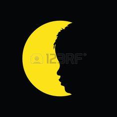 SAGOMA BAMBINO CHE GIOCA: child in circle yellow illustration silhouette