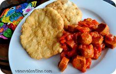 Panamanian Breakfast: Holjadas w/ Salchicas Guisadas (deep-fried salty dough with sausage stew).