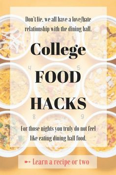 Here's a list of food hacks – food that you can make right in your dorm for cheap, on those nights you really truly do not feel like eating dining hall food!