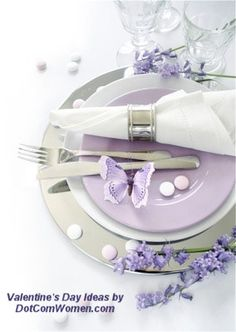 Lilac themed place setting for Valentine's Day, Anniversary Dinner