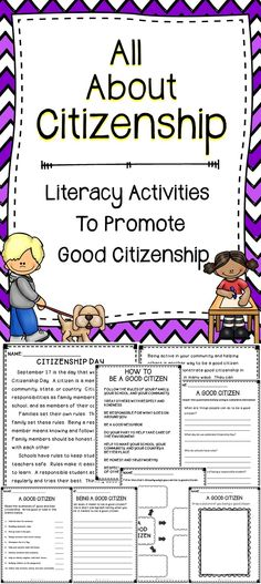 All About Citizenship Activity Pack - This is a literacy resource all about citizenship.  This no prep resource will help children develop their reading skills while teaching them about being a good citizen. #education