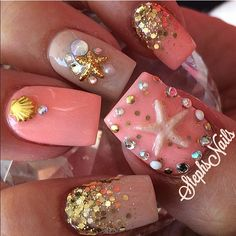 #starfish#mermaidnails#coralnails