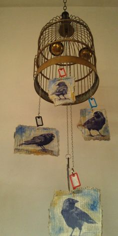My Jackdaw Mobile - ballpen on newspaper on cardboard with a copper birdcage