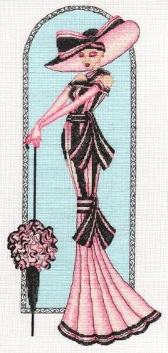 0 point de croix femme elegante en rose et noir - cross stitch elegant lady in pink and black