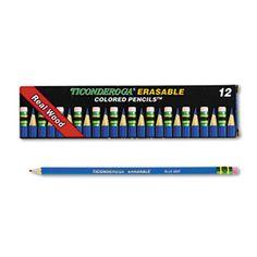 Ticonderoga Erasable Colored Pencils, 2.6 Mm, Blue Lead/barrel, Dozen