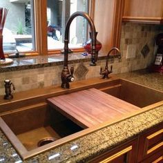 Kitchen Sink Remodel Signature top mounted copper sink with black walnut cutting board and Waterstone kitchen sinks - New Kitchen, Kitchen Dining, Kitchen Decor, Kitchen Ideas, Rustic Kitchen Sinks, Large Kitchen Sinks, Top Mount Kitchen Sink, Rustic Kitchens, Kitchen Faucets