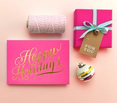 Pink and gold gift wrap inspiration.