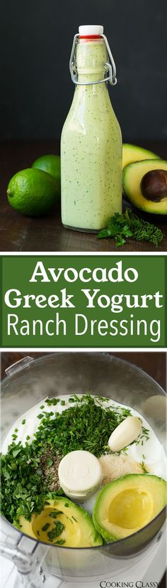 Avocado Greek Yogurt Ranch Dressing - easy, made from scratch and so delicious! Can be used as a veggie dip too, just omit the milk. I'm gonna omit the Greek yogurt and use silken tofu instead! Yogurt Ranch Dressing, Greek Yogurt Ranch, Avocado Dressing, Avocado Salad, Clean Ranch Dressing, Vingerette Dressing, Healthy Ranch Dressing, Ranch Dressing Recipe, Ranch Recipe