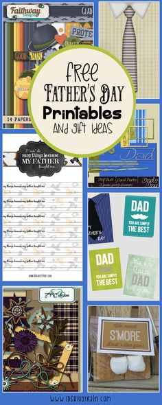 Free Father's Day ideas and digital scrapbook kit freebies!