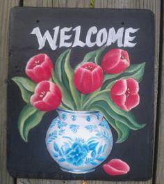 {Tulips Welcome Sign} www.slatelady.com regina@slatelady.com
