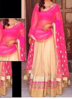 Pink, beige and golden lehenga :) Would like the lehenga pink and gold instead <3